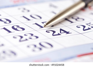 Calendar and pen isolated