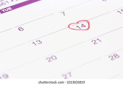 calendar with red mark on 14 February 2019. Valentine's day concept