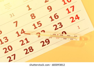 Calendar sheets and medical glass thermometer