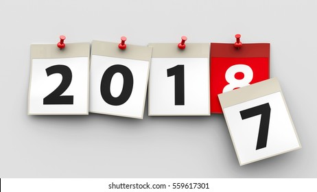 Calendar sheets with red pin and numbers 2018 on grey background represent start new year 2018, three-dimensional rendering, 3D illustration