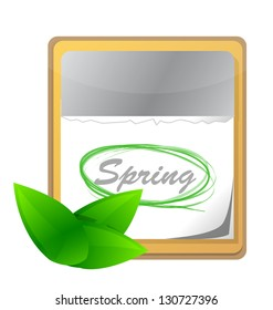 calendar with spring page and green leaf illustration design over white