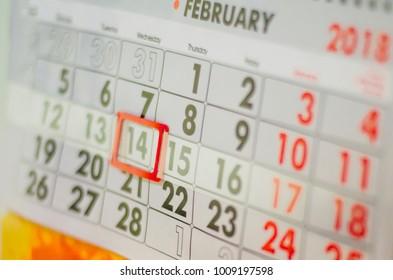 calendar,  St. Valentine's Day,  February 14, 2018