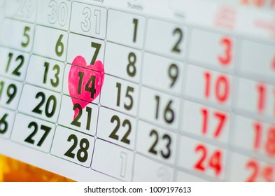 calendar,  St. Valentine's Day with heart,  February 14, 2018