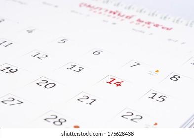 Calendar Valentine's Day. A close up photo