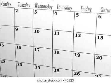 Calendar with weekdays