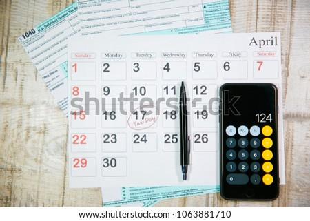 Calendar Words Tax Day Pen Calculator Stock Photo (Edit Now