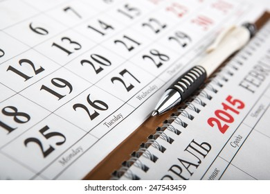 calendars laid on the table close up