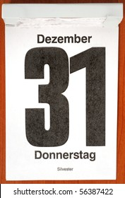 Calender with December 31st