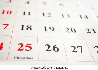 Calender indicating Christmas day