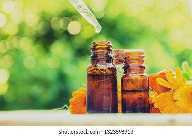 The calendula extract. Medicinal plants. Selective focus nature