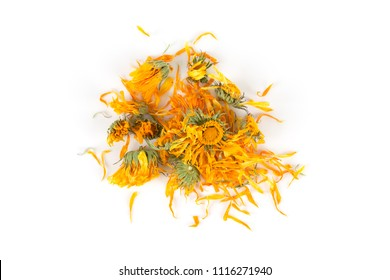 Calendula flowewr tea for infusion on white background