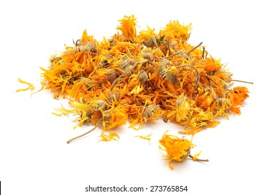 Calendula officinalis or Marigold dry tea flowers