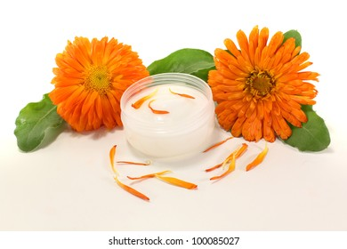 Calendula ointment with marigold flowers, leaves and petals
