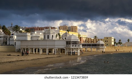 Caleta Beach Spa Cadiz under Stromy Sky Spain