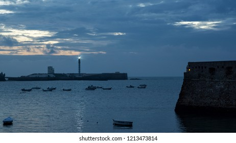 Caleta Cove at Dusk Between Castles Cadiz Spain