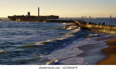 Caleta Walkway at Sunset Cadiz Spain
