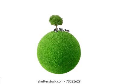 Calf standing green planet