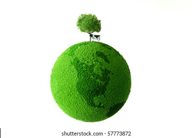 Calf standing on green earth