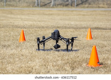 CALGARY, AB - APRIL 10, 2017 A professional drone sits on the ground before take off