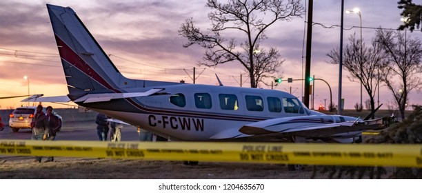 CALGARY, AB - April 25, 2018 A Piper PA-31 sits on 36th St NE in Calgary after making an emergency landing on the road