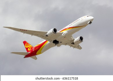 CALGARY, AB - APRIL 29, 2017 A Hainan Airlines Boeing 787-9 departs Calgary for Beijing, China
