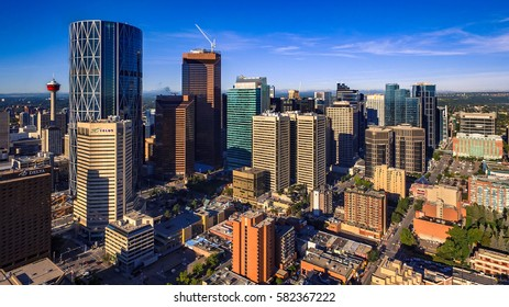 CALGARY, AB - AUG 19, 2016. Downtown Calgary as viewed from the air on a summer morning