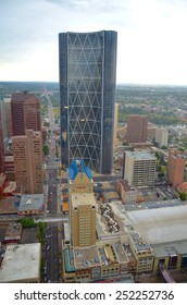 CALGARY, AB- AUGUST 03: Downtown Calgary view from Calgary Tower on August 03 2014 in Calgary, AB. Calgary has prominent buildings in a variety of styles by many famous architects.