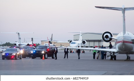 CALGARY, AB - JULY 14, 2017 Canadian Prime Minister Justin Trudeau arrives at Calgary International Airport for the 2017 Calgary Stampede