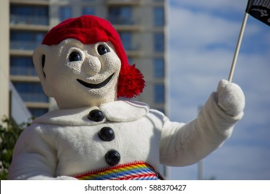 CALGARY, AB - JULY 5, 2013 Bonhomme,the King of Quebec's Winter Carnival participates in the Calgary Stampede Parade