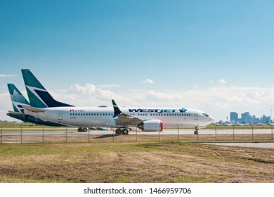 Calgary, AB - June 22, 2019 WestJet Boeing 737 MAX Aircraft grounded at Calgary International Airport