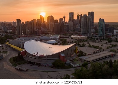 CALGARY, AB - June 6, 2018 An aerial view of the Downtown Calgary skyline at sunset