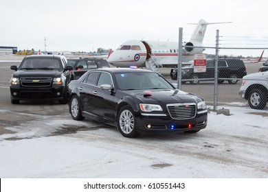 CALGARY, AB - MARCH 1, 2017 Canadian Prime Minister Justin Trudeau's motorcade leaves Calgary International Airport en route to a Cabinet Retreat.