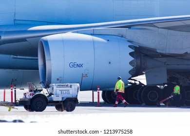 CALGARY, AB - March 23, 2018 A close up of the General Electric GEnx enginge on a Cathay Pacific Boeing 747 Cargo Jet at Calgary International Airport