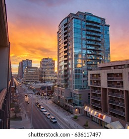 CALGARY, AB - MAY 05, 2017 Sunset over 12 Ave SW in Calgary, AB