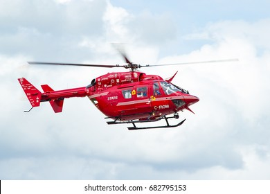 CALGARY, AB - MAY 16, 2017 A STARS Air Ambulance BK-117 Helicopter lands at Calgary International Airport