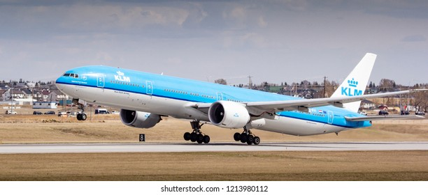 CALGARY, AB - May 4, 2018 A KLM Boeing 777 airliner takes off from Calgary International Airport