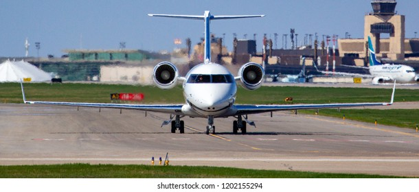 CALGARY, AB - May 5, 2018 A Bombardier Challenger CL600 arrives at Calgary International Airport