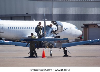 CALGARY, AB - May 5, 2018 Canadian Forces Harvard II Trainers arrive at Calgary International Airport and are moved by ground crews
