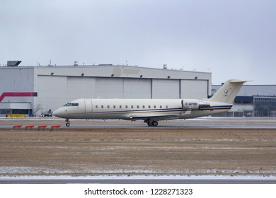 CALGARY, AB - Nov 11, 2018: A Bombardier CL60 Challenger business jet takes of from Calgary International Airport