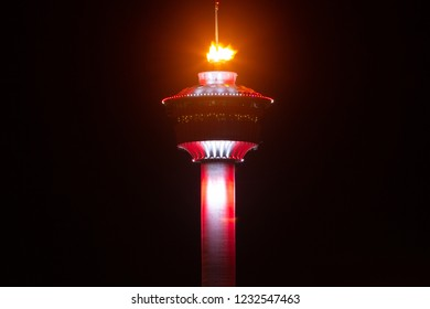 CALGARY, AB - Nov 13, 2018 The Calgary Tower Olympic Cauldron burns brightly as Calgarians vote in a plebiscite against a 2026 Winter Olympic Bid