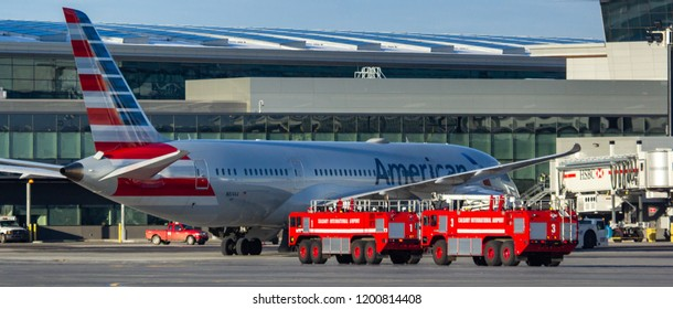 CALGARY, AB - Oct 11, 2018 American Airlines 263 made an emergency landing in Calgary after a medical diversion turned mechanical. After landing the Boeing 787 Dreamliner was towed to the gate.