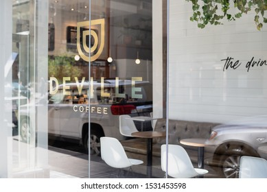 Calgary, AB/CANADA - 07-21-2019:  street view of Coffee shop in downtown Calgary