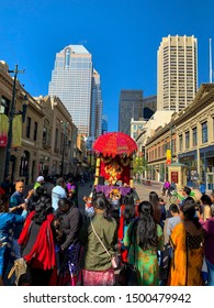 Calgary, Alberta, Canada 09/07/2019 Ganesha Festival celebration in city of Calgary. Lord Ganesha is Known as obstacles remover. This Festival is celebrated by Hindus across the world.