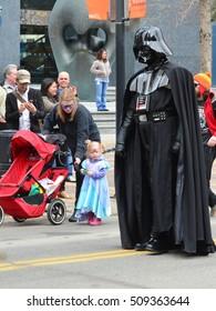 Calgary, Alberta, Canada, April 24 2014: Comic and Entertainment Expo Parade Darth Vader from Star Wars cosplay at the parade proceeding the Calgary Comic Expo