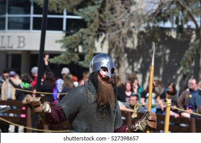 Calgary, Alberta, Canada, April 25 2014: Viking from Sons of Fenrir participates in demonstration outside the Comic and Entertainment Expo at Calgary, Alberta