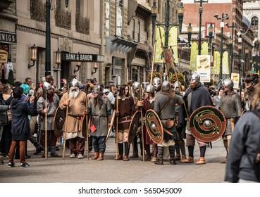 Calgary, Alberta, Canada, April 29 2016: Comic and Entertainment Expo Parade Sons of Fenrir Viking costumes