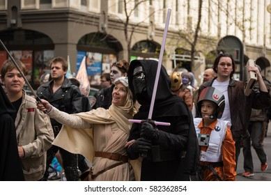 Calgary, Alberta, Canada, April 29 2016: Comic and Entertainment Expo Parade Rey and Kylo Ren of the Force Awakens pose for a selfie