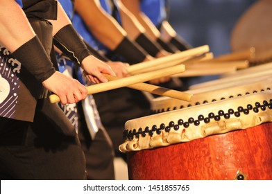 Calgary, Alberta, Canada August 17, 2018: Japanese drumming  ensemble at the annual cultural celebration.