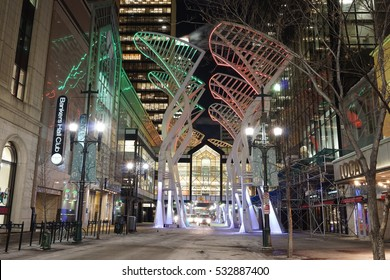 Calgary, Alberta, Canada - December 9, 2016: At 6am, it was cold at -24 degrees Celsius, windchill -32 degrees.  Despite the frigid weather, Stephen Avenue displayed beautiful lights, pre-Christmas.