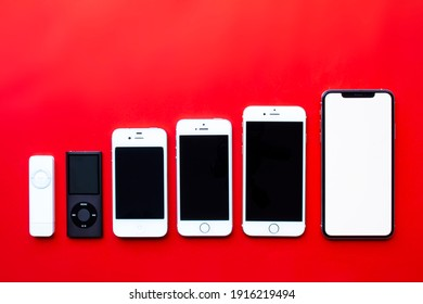 Calgary, Alberta, Canada. Feb 13, 2021. Several Apple portable music players iPods to iPhones